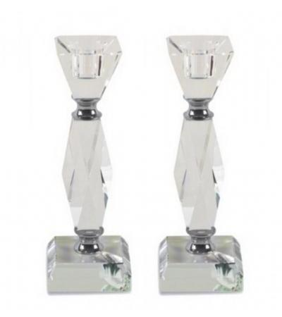 Angled Crystal Shabbat Candlesticks with Metal Elements