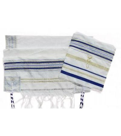 "Blue and Gold Christian Prayer Shawl (64"" x 43"")"