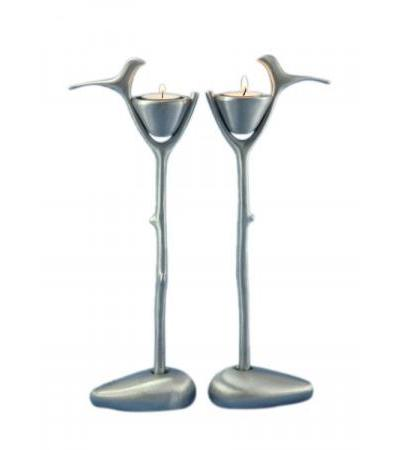 Branch with Dove Shraga Landesman Shabbat Candlesticks