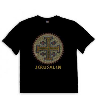 Christian T Shirt Jerusalem Cross Mosaic
