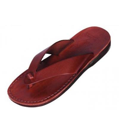 Classic Wide V-Strap Flip-Flop Handmade Leather Biblical Sandals - Aaron