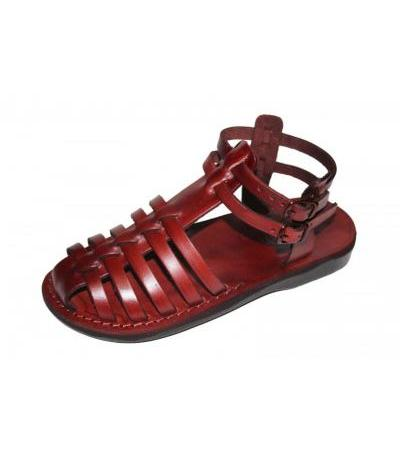Fisherman Style Double Ankle strap Leather Biblical Sandals - Iris