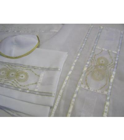 Golden Stripes and Circles, Tallit Prayer Shawl