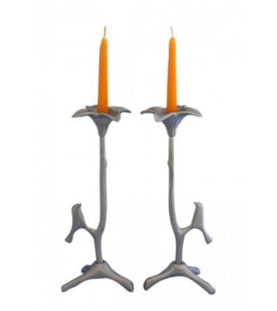 Long Stem Flower with Bird Shraga Landesman Shabbat Candlesticks