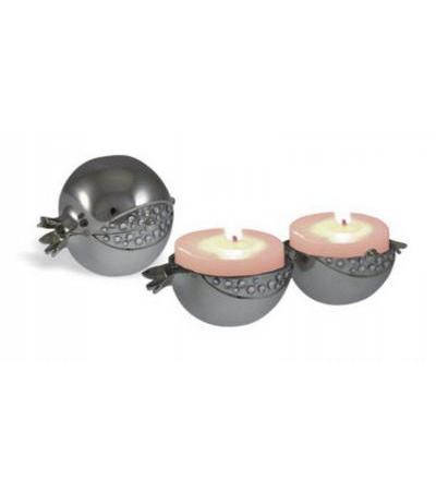 Pomegranate Silver Plated Travel Candlesticks with White Stones