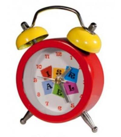 Red Mini Alarm Clock with Israel Logo