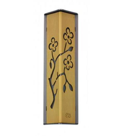 Silver and Gold Colored Almond Tree Cutout Shraga Landesman Mezuzah Case