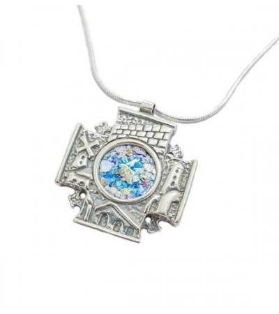 Silver and Roman Glass Jerusalem 3D Cross