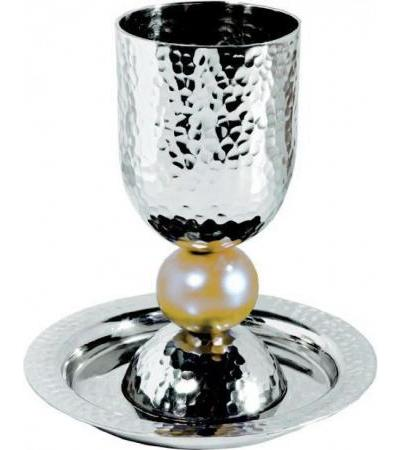 Silver Colored Anodized Alluminum Kiddush Cup with Big Gold Bead Stem