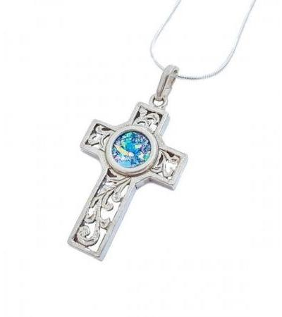 Silver Cross with Roman Glass Floral Design