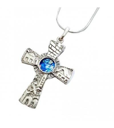 Silver Jerusalem 3D Cross with Roman Glass