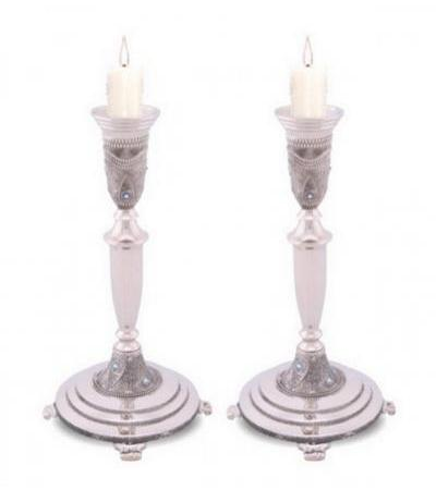 Silver Plated Tall Candlesticks Filigree and Blue Stones