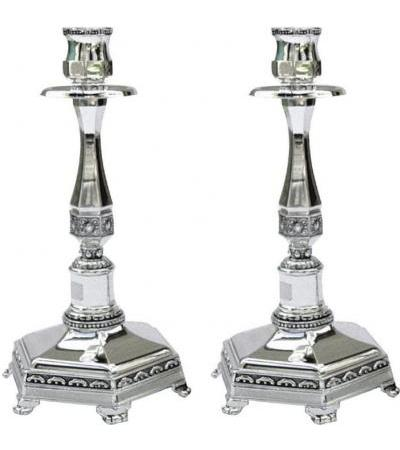 Silver Plated Tall Candlesticks with Modern Filigree