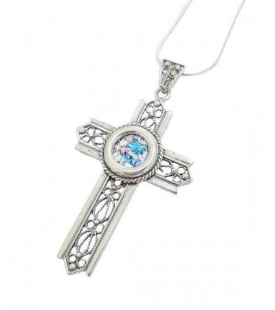 Silver Rope Filigree Cross with Roman Glass