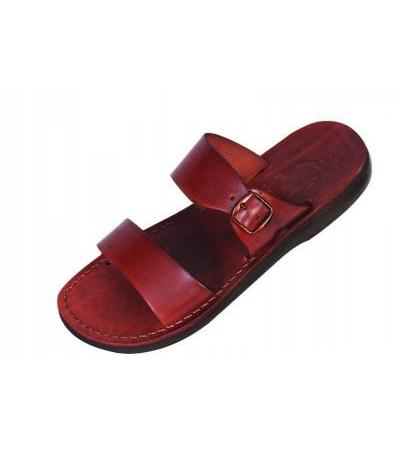 Two Strip Slip-on Handmade Leather Sandals with Buckle - Benjamin
