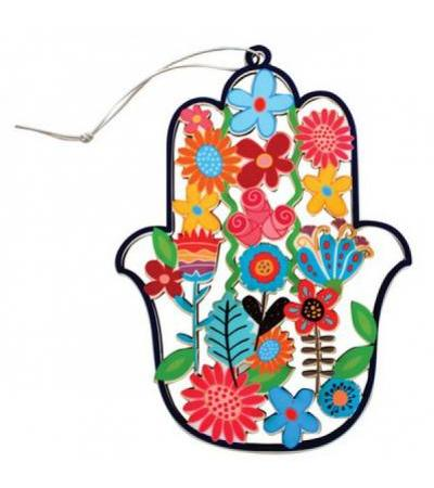 Wooden Hamsa Laser Cut Flowers with Black Frame