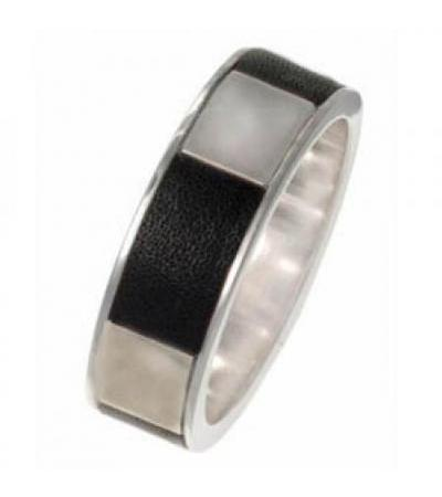 Black Leather & Silver Ring