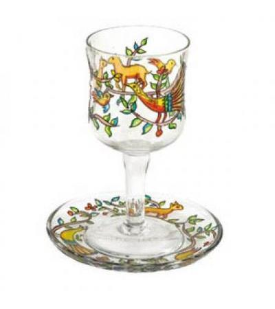 Glass Kiddush Cup-Animals