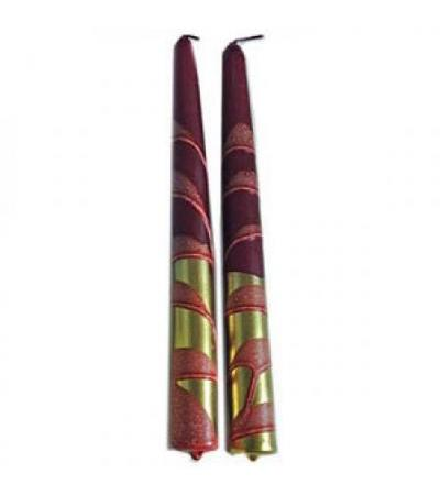 "Metallic Gold and Maroon 10"" Tapers"