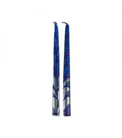 "Metallic Silver Taper Candles 10"" Blue"