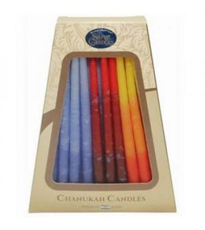 Safed Deluxe Chanukah Candles- Multicolor