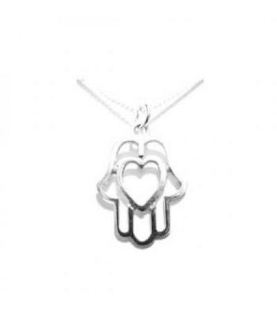 Silver Hamsa with Heart